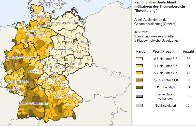 Geografik Ausländeranteil 2011 nach Kreisen